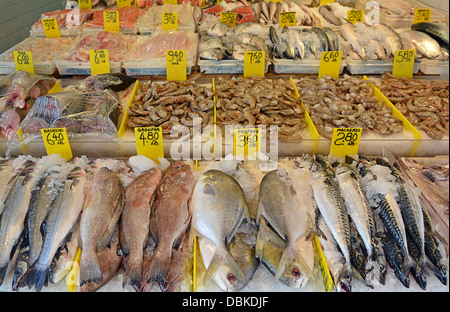 Fish shop in chinatown new york city usa stock photo for Outdoor fish for sale