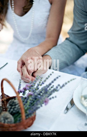 Bride And Groom Holding Hands, Outdoors, Croatia, Europe - Stock Photo