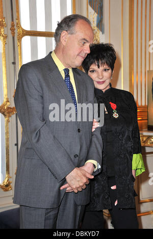 Frederique Mitterrand and Liza Minnelli Liza Minnelli is awarded with chevalier of the Legion of Honour (Chevalier - Stock Photo