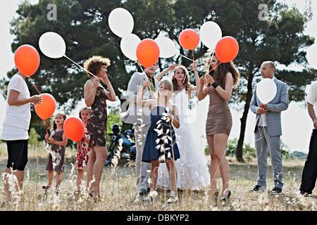 Wedding Guests With Balloons, Croatia, Dalmatia - Stock Photo