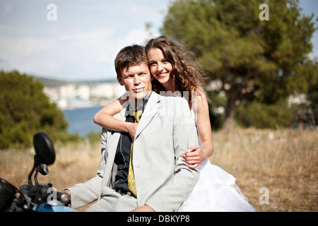 Bride And Groom On Motorbike, Croatia, Europe - Stock Photo