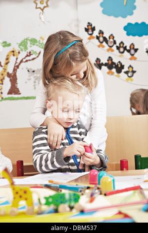 Children In Nursery School, Kottgeisering, Bavaria, Germany, Europe - Stock Photo