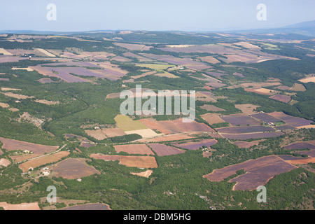 MOUNTAIN WITH LAVENDER FIELDS IN BLOOM (aerial view). Near Simiane-la-Rotonde, Provence, France. - Stock Photo