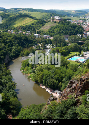 View to the rock massif Rotenfels, Bad Münster am Stein-Ebernburg, Rheinland-Pfalz, Deutschland, Europa - Stock Photo