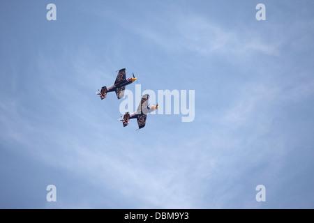 Red Bull Matadors flying at the 2013 Sunderland International Airshow. - Stock Photo