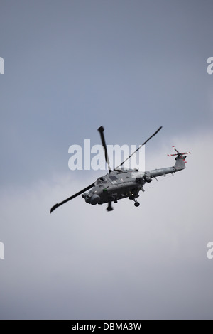 A Royal Navy Westland Lynx HMA8 helicopter at the 2013 Sunderland International Airshow. - Stock Photo