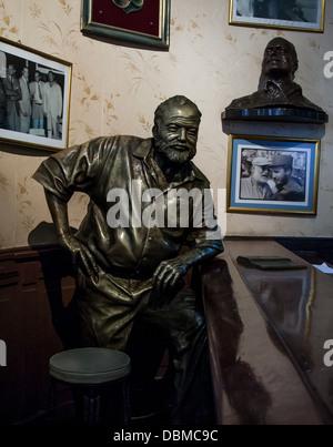 statue of Hemingway in Havana bar