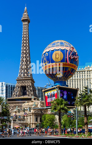 Paris Las Vegas Hotel and Casino on Las Vegas Boulevard (The Strip), Las Vegas, Nevada, USA - Stock Photo