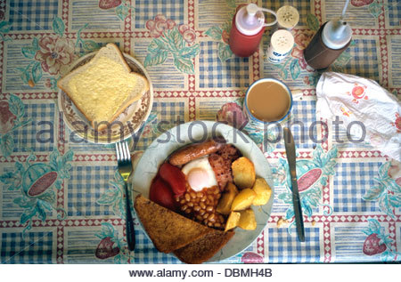 Full English breakfast, served in a cafe. UK. - Stock Photo