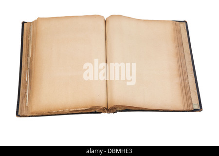 Old Scrap Book - old scrap book or album, over 100 years old, open at blank pages. Clipping path. - Stock Photo