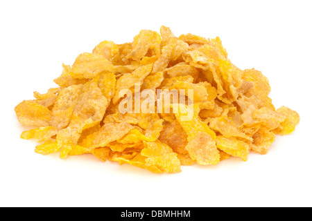 Cornflakes Heap - heap of cornflakes isolated on white, front to back focus. - Stock Photo