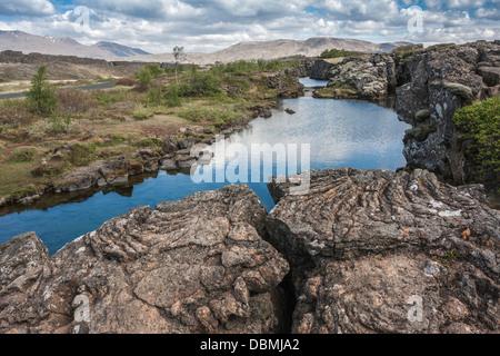 Tectonic plates, Pingvellir (Þingvellir) national park, south Iceland - Stock Photo