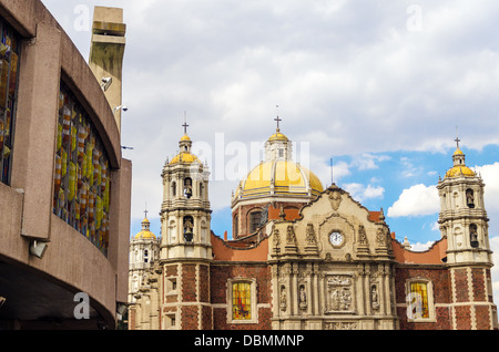 View of both the old and the new Basilica of Our Lady of Guadalupe - Stock Photo