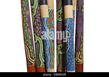 Group of Australian instruments Didgeridoo on white background - Stock Photo