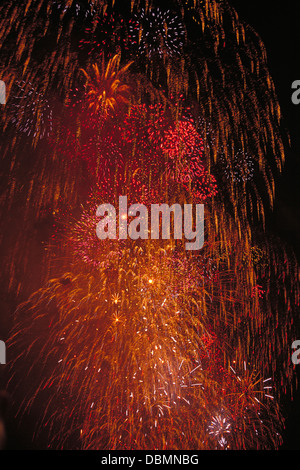 Fourth of July fireworks over NYC - Stock Photo