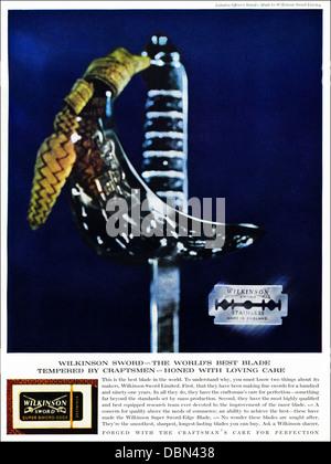 Advertisement for Wilkinson Sword razor blades in magazine circa 1964 - Stock Photo