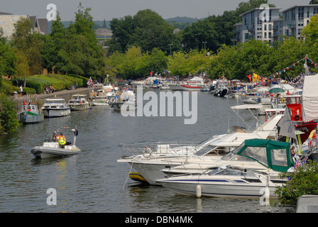Maidstone, Kent, England, UK. Annual Maidstone River Festival (July 27th 2013) Boats moored on the Medway. - Stock Photo