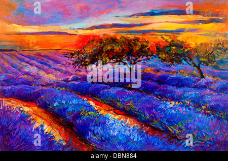 Original oil painting of lavender fields on canvas.Sunset landscape.Modern Impressionism - Stock Photo