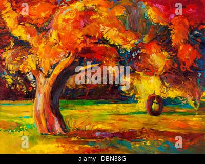 Original oil painting showing beautiful Autumn tree. Modern Impressionism - Stock Photo
