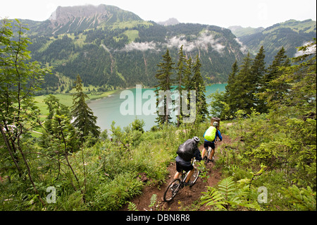 Two Mountain Bikers, Schattwald, Bavaria, Germany - Stock Photo