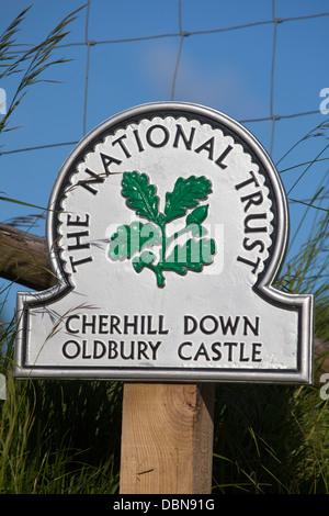 National Trust Sign at Cherhill Down Oldbury Castle - Stock Photo