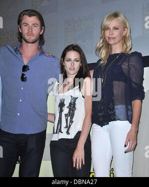 Chris Hemsworth + Charlize Theron + Kirsten Stewart    Comic-Con 2011 - Celebrities at the Convention Centre    - Stock Photo