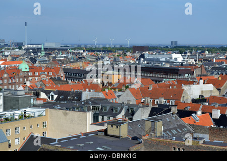 View across Copenhagen from Round Tower / Rundetårn. - Stock Photo