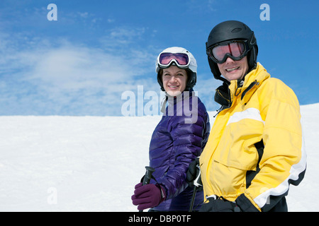Young couple in a ski resort, Sudelfeld, Bavaria, Germany - Stock Photo