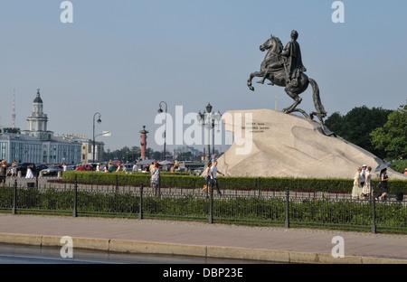 Horseman Memorial of Peter I the Great Dekabristenplatz, Peters Denkmal 'Eherner Reiter', Sankt Petersburg - Stock Photo