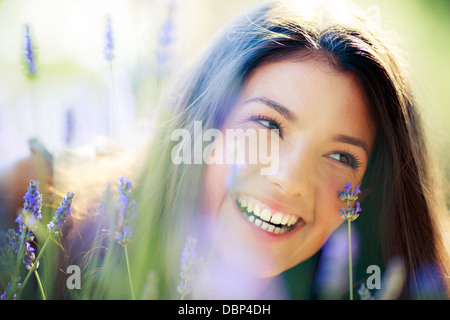 Young Woman In Lavender Field, Portrait, Island Hvar, Croatia, Europe - Stock Photo