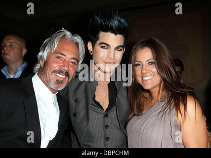 Michael Habicht, Adam Lambert and TV personality Raquel Castaneda 2011 Los Angeles Equality Awards held at The Beverly - Stock Photo