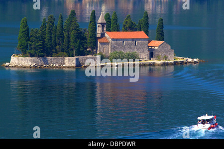 St. George Island, Kotor Bay, UNESCO World Heritage Site, Montenegro, Europe - Stock Photo