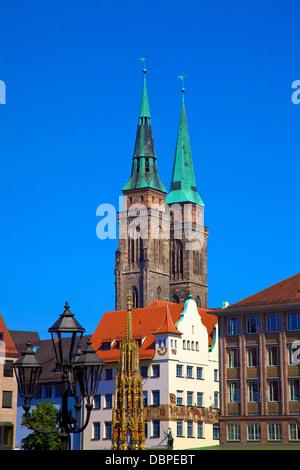 Schoener Brunnen Fountain, Market Square and St. Sebaldus Church, Nuremberg, Bavaria, Germany, Europe - Stock Photo