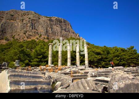 Temple of Athena, Ancient City of Priene, Anatolia, Turkey, Asia Minor, Eurasia - Stock Photo