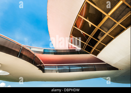 Detail of the structure of the Niemeyer Museum of Contemporary Arts, Niteroi, Rio de Janeiro, Brazil, South America - Stock Photo