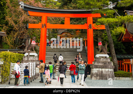 The Endless Red Gates of Kyoto's Fushimi Inari Shrine, Kyoto, Japan, Asia - Stock Photo