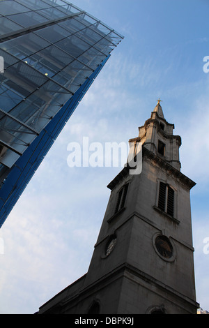 St Vedast Alias Foster Catholic Church, Cheapside in the city of london next to a new office development - Stock Photo