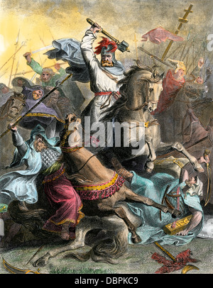 Charles Martel leading the Franks against Arab invaders at Tours, France, 732 AD. Hand-colored engraving - Stock Photo