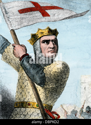 Godfrey of Bouillon in the First Crusade, 1096 A.D. Hand-colored woodcut - Stock Photo