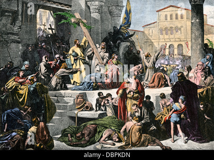 Godfrey de Bouillon entering Jerusalem in the First Crusade. Hand-colored halftone reproduction of an illustration - Stock Photo