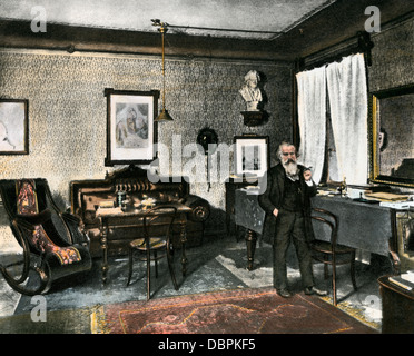 Johannes Brahms in his study, Vienna, 1800s. Hand-colored halftone reproduction of a photograph - Stock Photo