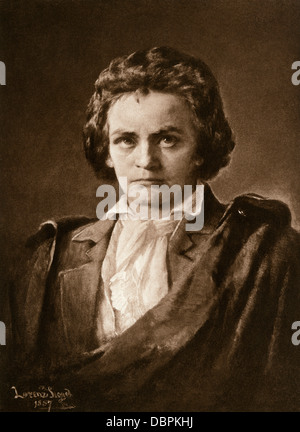 Composer Ludwig van Beethoven. Photogravure of an illustration - Stock Photo