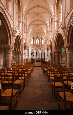 The nave in the church of Notre Dame, Saint Pere, Yonne, Burgundy, France, Europe - Stock Photo