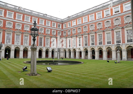 Fountain Court in Hampton Court Palace, Surrey, UK. - Stock Photo