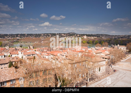 The view over the city of Avignon towards Villeneuve-les-Avignon, Avignon, Vaucluse, France, Europe - Stock Photo