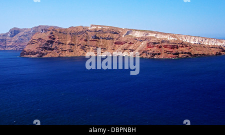 Thirasia Island, off the coast of Santorini, Oia, Santorini, Greece - Stock Photo
