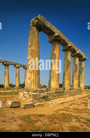 Metaponto's Tavole Palatine Doric Temple of Hera dating back to the 6th century BC in Basilicata, Southern Italy - Stock Photo