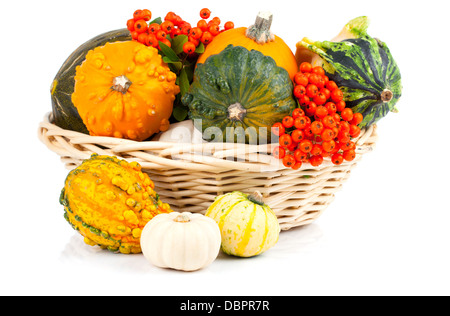 Autumn pumpkins in a straw basket, isolated on the white background - Stock Photo