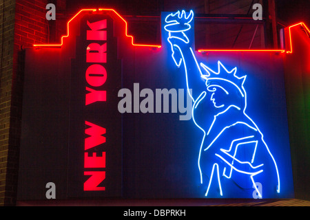 31/07/2013 New York amusement arcade neon sign of the statue of liberty on the seafront in Southend-on-Sea - Stock Photo