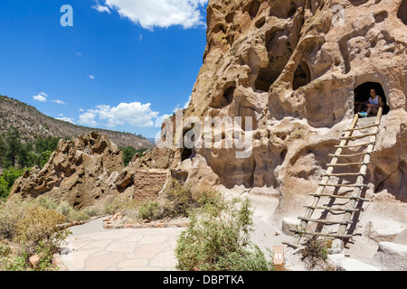 Pueblo Indian cliff dwellings at Bandelier National, Monument, near Los Alamos, New Mexico, USA - Stock Photo